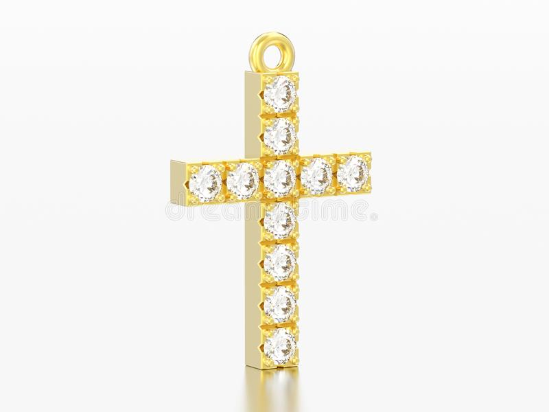 диамант желтого золота иллюстрации 3D декоративный пересекает шкентель иллюстрация штока