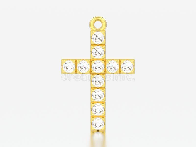 диамант желтого золота иллюстрации 3D декоративный пересекает шкентель бесплатная иллюстрация