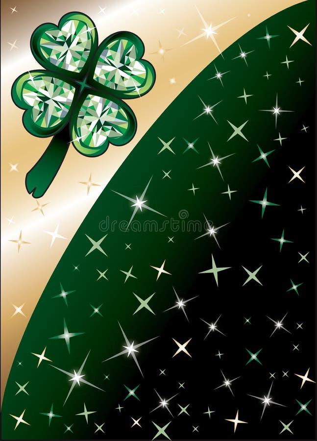 диамант зеленый клевера предпосылки иллюстрация вектора