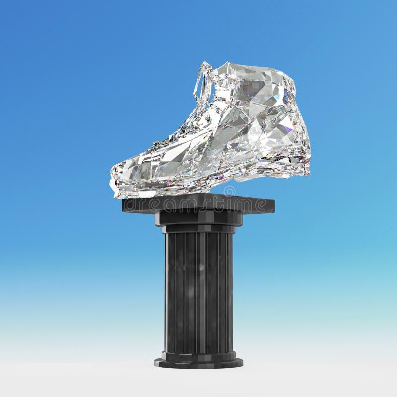 Диамант резвится ботинки, низкие поли тапки с трудными краями и сияющие стороны На мраморном постаменте штендера изолировано иллюстрация штока