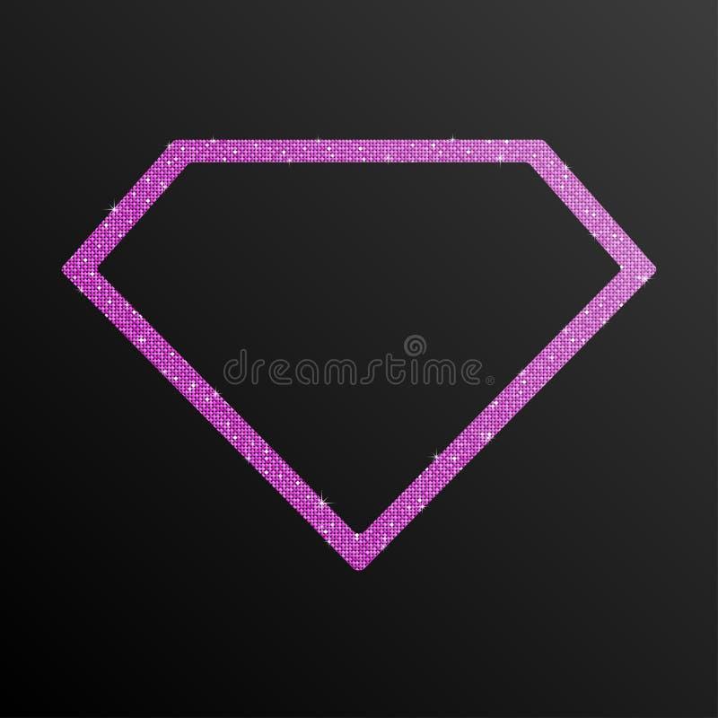 Диамант Sequin рамки розовый фиолетовый иллюстрация штока