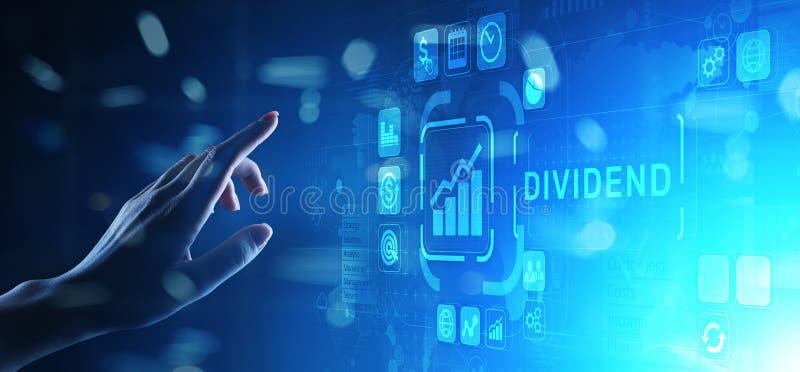 Дивиденды застегивают на виртуальном экране Концепция богатства дела ROI рентабельности инвестиций финансовая стоковое фото rf