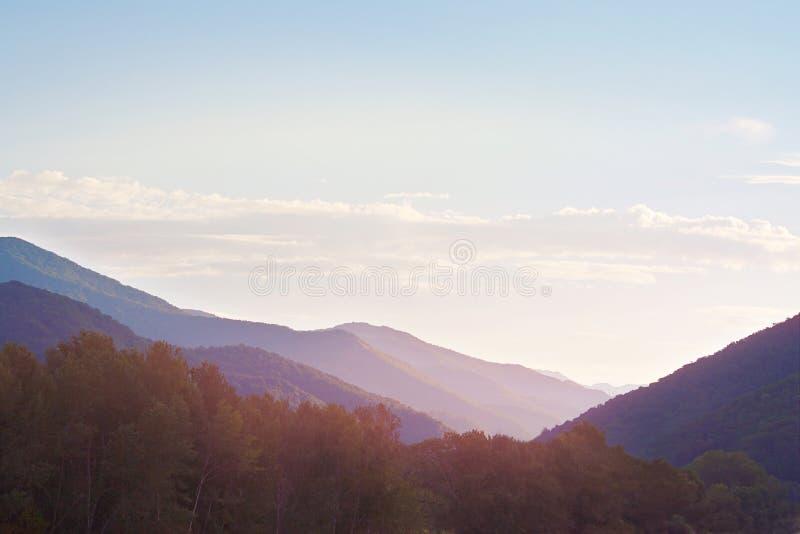 Дивный рассветать в горах покрытых с лесами стоковые изображения rf
