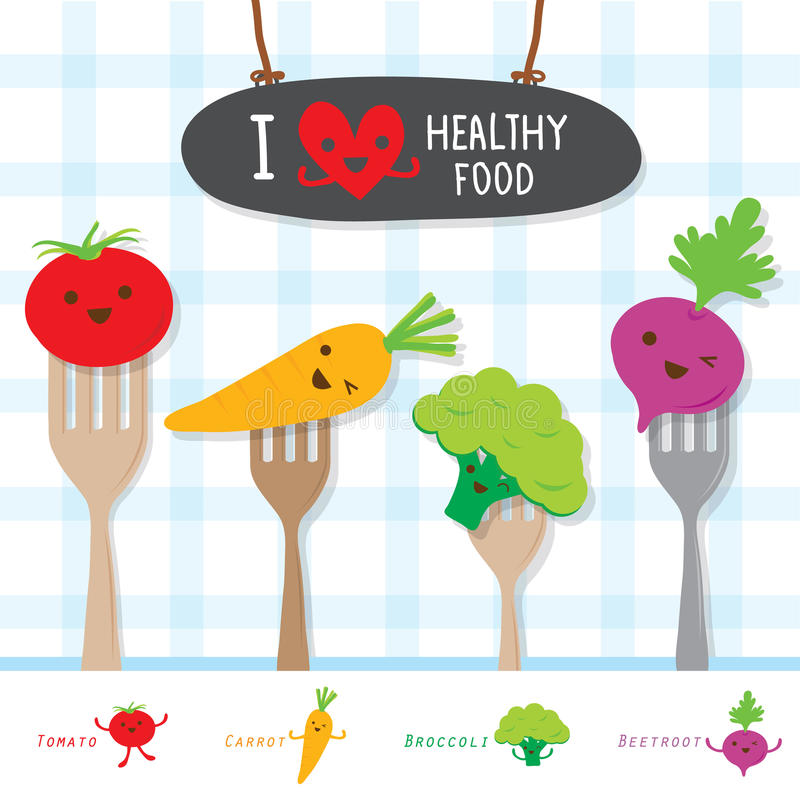 Диета здоровой еды Vegetable ест вектор полезного шаржа витамина милый бесплатная иллюстрация