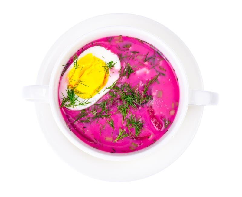 Диетическая и здоровая еда Суп с свеклами и яичками стоковые изображения rf