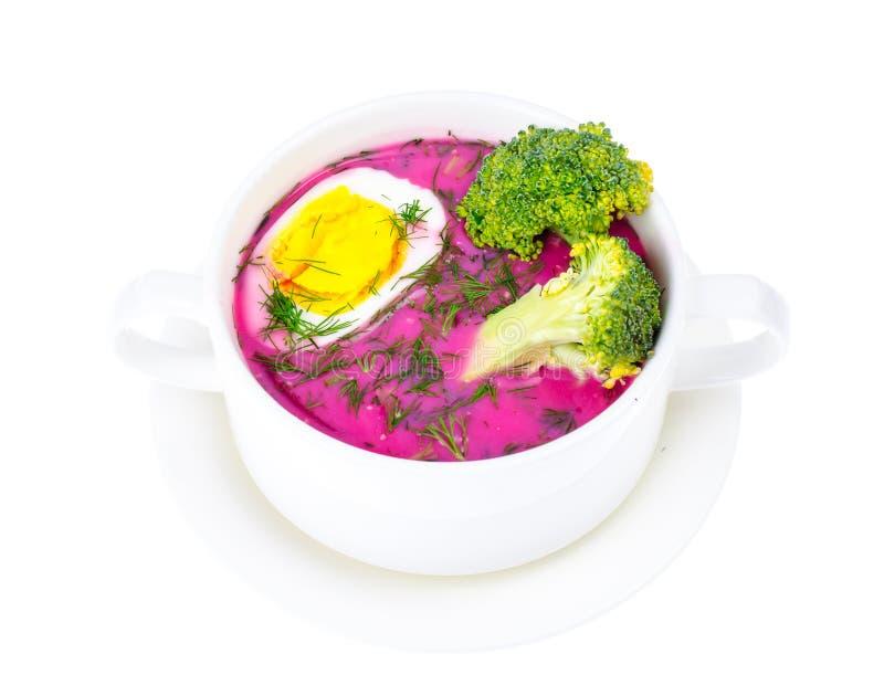 Диетическая и здоровая еда Суп с свеклами и яичками стоковое фото