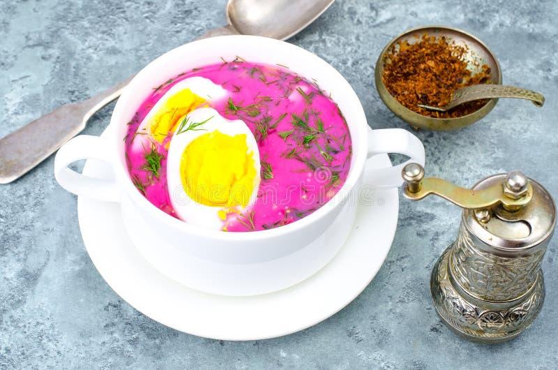 Диетическая и здоровая еда Суп с свеклами и яичками стоковая фотография rf