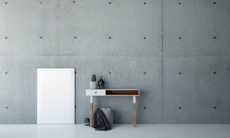 Дизаин интерьера комнаты и бетонной стены фойе живущей иллюстрация вектора
