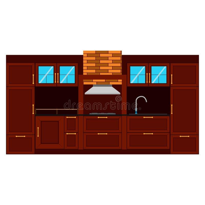 Дизайна вектора кухни мебель комнаты иллюстрации плоского внутренняя иллюстрация вектора