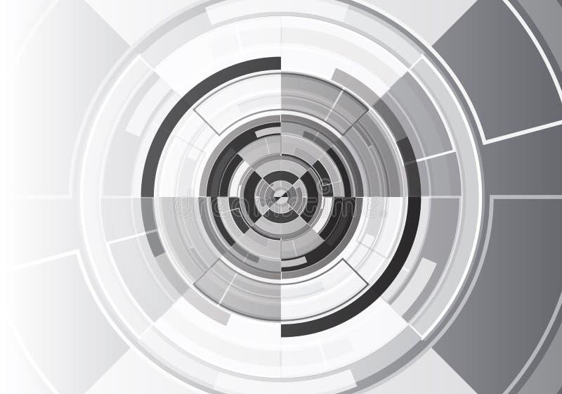 Дизайна круга технологии вектор предпосылки черного белого современный футуристический иллюстрация вектора