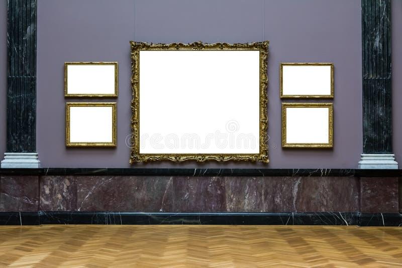 Дизайна стены рамки музея изобразительных искусств Isol синего богато украшенного минимального белый стоковые изображения rf