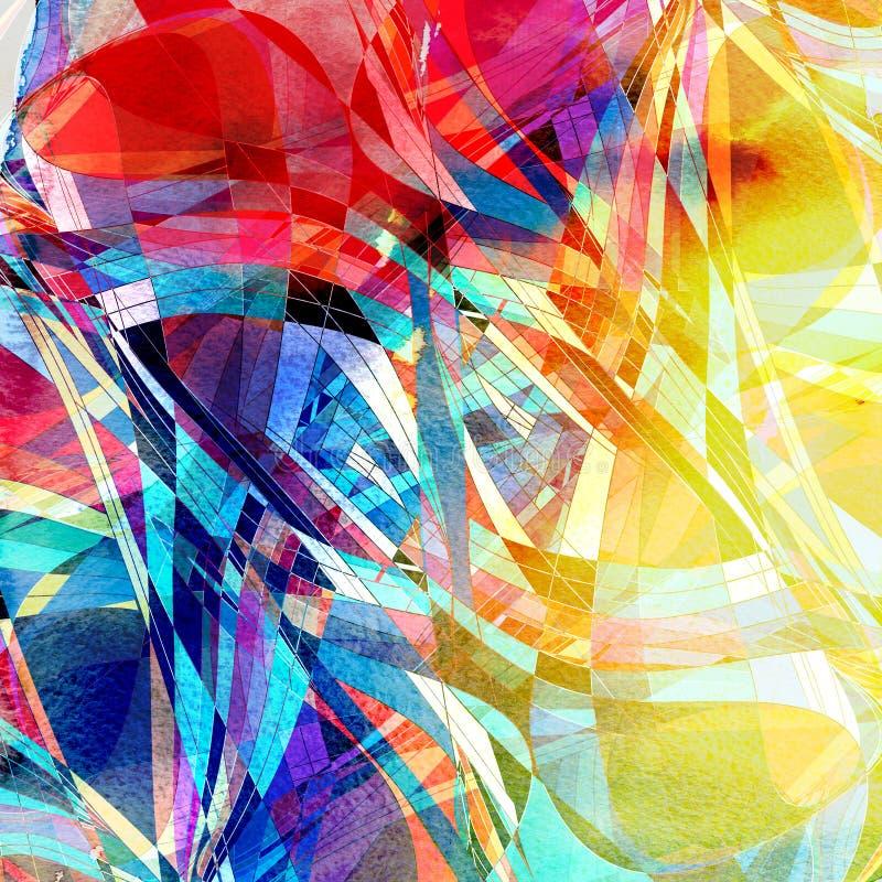 Дизайна супер конспекта акварель ярко пестротканая волнистая иллюстрация штока