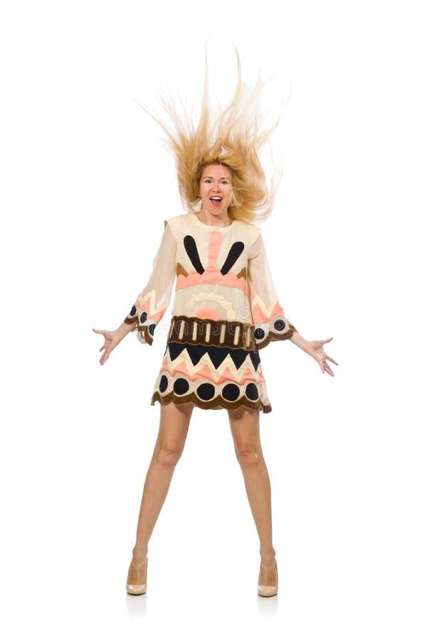 Дизайнерская одежда светлых волос модельная нося изолированная на белизне стоковое фото rf