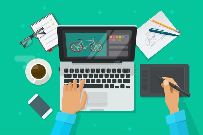 Дизайнерское взгляд сверху иллюстрации вектора рабочего места, чертеж персоны на таблетке ручки на портативном компьютере, график иллюстрация вектора