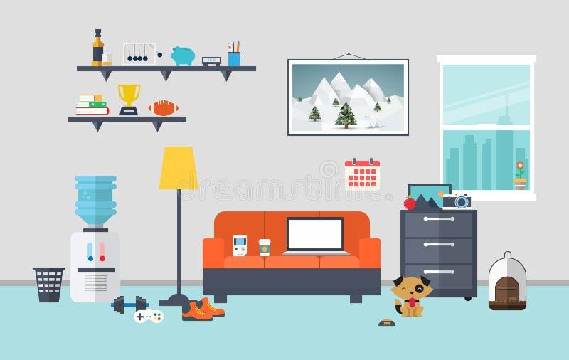 Дизайнерское место для работы в комнате работы стоковые изображения