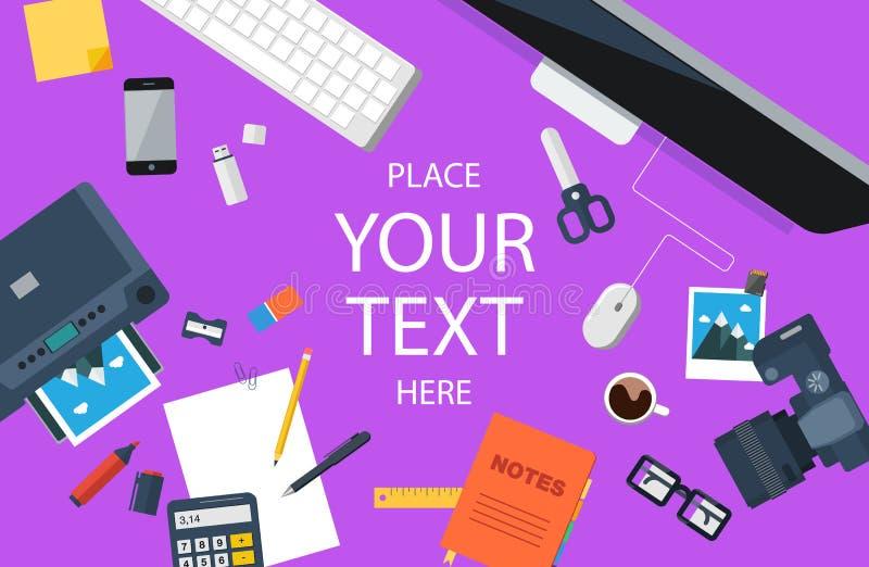 Дизайнерское рабочее место Взгляд сверху Плоский дизайн Пурпуровая предпосылка бесплатная иллюстрация