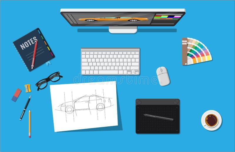 Дизайнерское рабочее место Настольный компьютер иллюстратора с инструментами иллюстрация вектора