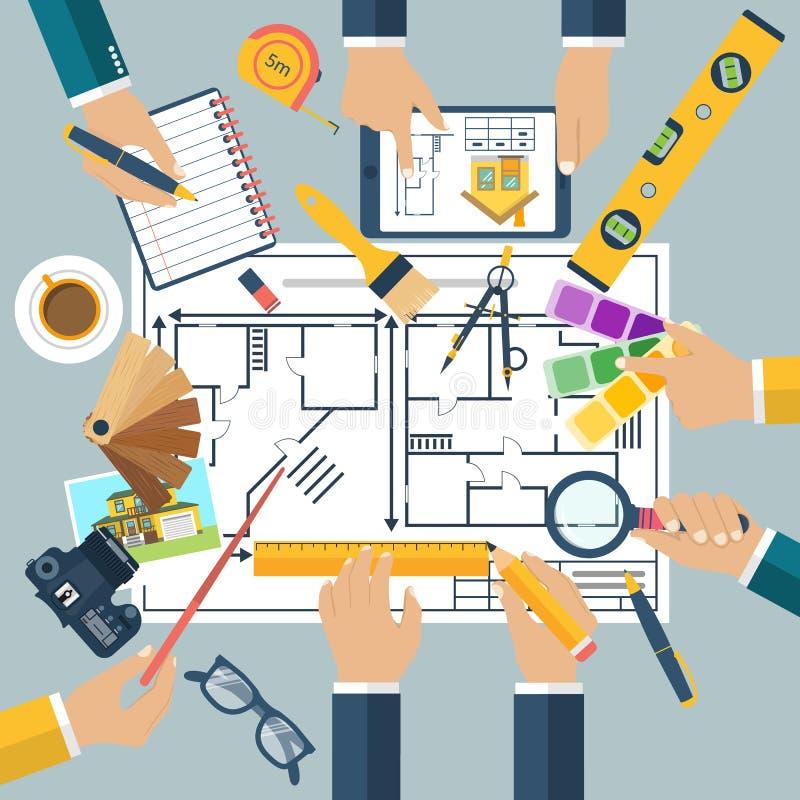 Дизайнер архитектора, чертежи проекта бесплатная иллюстрация
