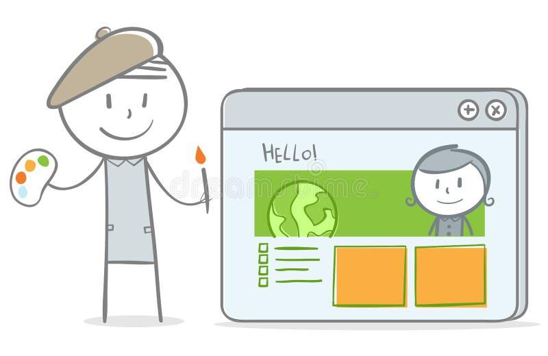 Дизайнер вебсайта иллюстрация штока