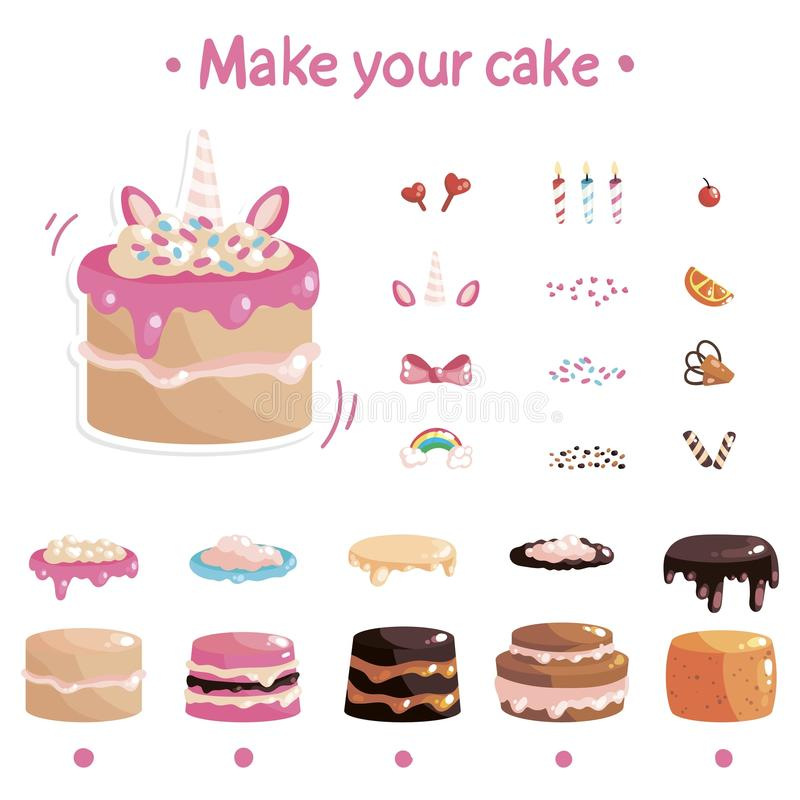 Дизайнер испечет для игр и применений Сделайте ваш торт бесплатная иллюстрация