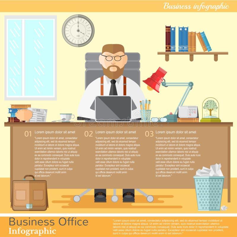 Дизайнер или фрилансер работника офиса для его места работы с компьтер-книжкой иллюстрация вектора