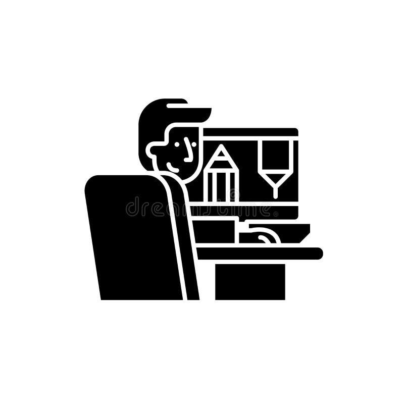 Дизайнер на значке работы черном, знаке вектора на изолированной предпосылке Дизайнер на символе концепции работы, иллюстрации бесплатная иллюстрация
