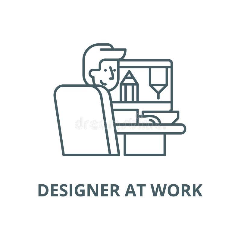 Дизайнер на линии значке работы, векторе Дизайнер на знаке плана работ иллюстрация вектора