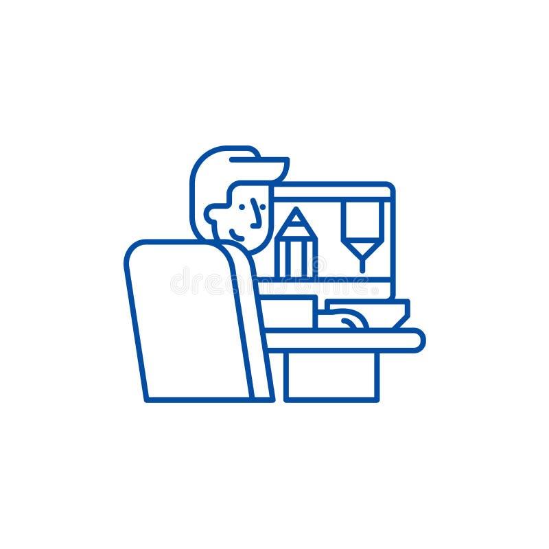 Дизайнер на линии концепции работы значка Дизайнер на символе вектора работы плоском, знаке, иллюстрации плана иллюстрация штока
