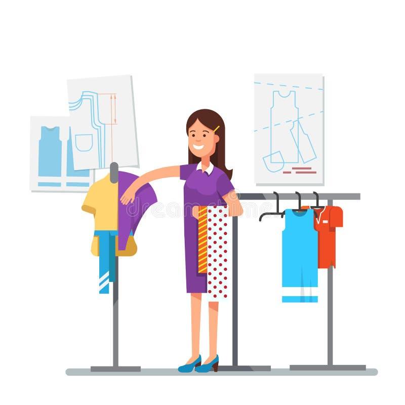 Дизайнер одежд моды работая на проекте платья иллюстрация штока