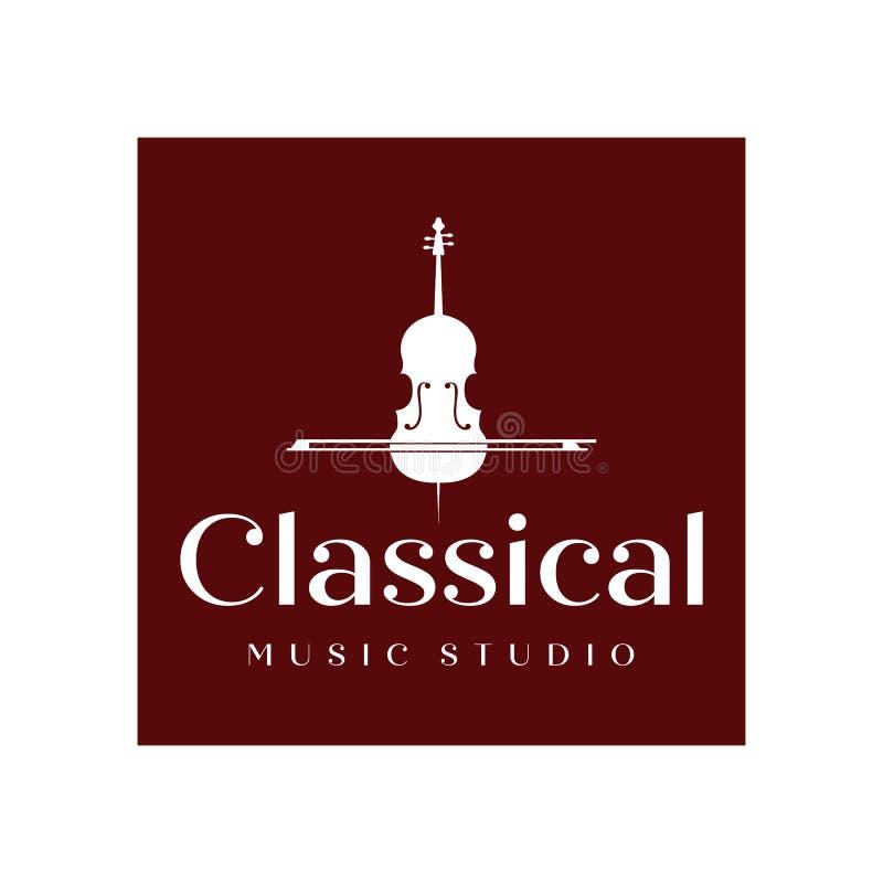 Дизайны воодушевленности дизайна винтажного логотипа скрипки или виолончели, классических и роскошных логотипа иллюстрация штока