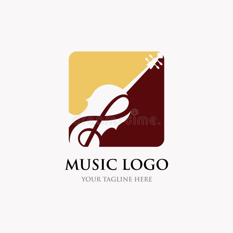 Дизайны воодушевленности дизайна логотипа скрипки/виолончели, классических и роскошных логотипа бесплатная иллюстрация