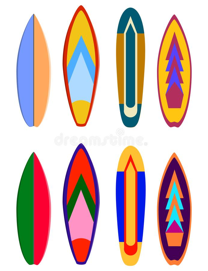 Дизайны доск прибоя Комплект расцветки surfboard вектора Реалистический surfboard для весьма заплывания, комплекта иллюстрации пр иллюстрация вектора