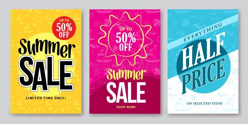 Дизайны знамени вектора продажи лета установили для покупок сезона иллюстрация штока