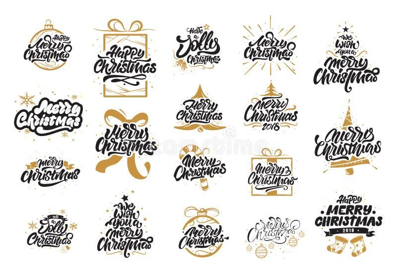 Дизайны литерности веселого рождества С Новым Годом! оформление Помечать буквами логотипы для открытки, плаката, подарка и футбол иллюстрация вектора