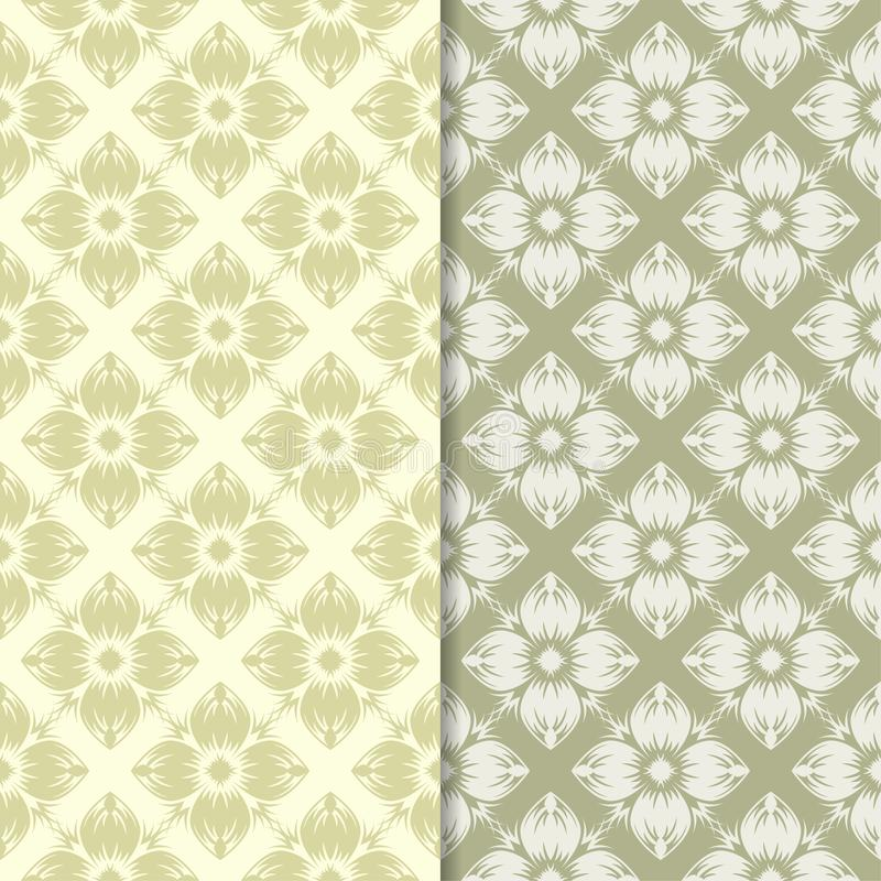 Дизайны прованского зеленого цвета флористические делает по образцу безшовный комплект бесплатная иллюстрация
