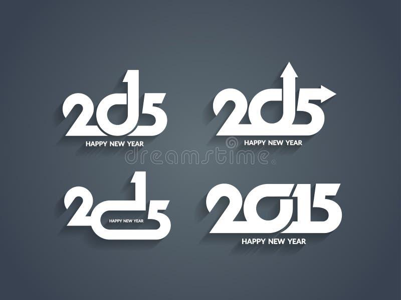 Дизайны текста Нового Года 2015 красивого вектора счастливые иллюстрация штока