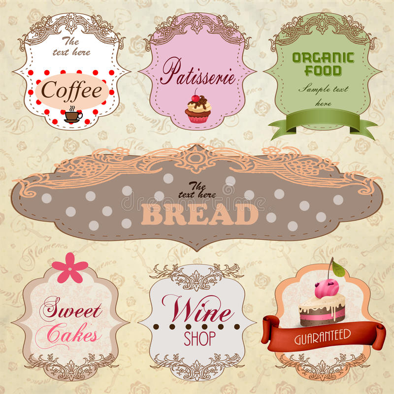 Дизайны шаблона знамен еды и питья иллюстрация штока