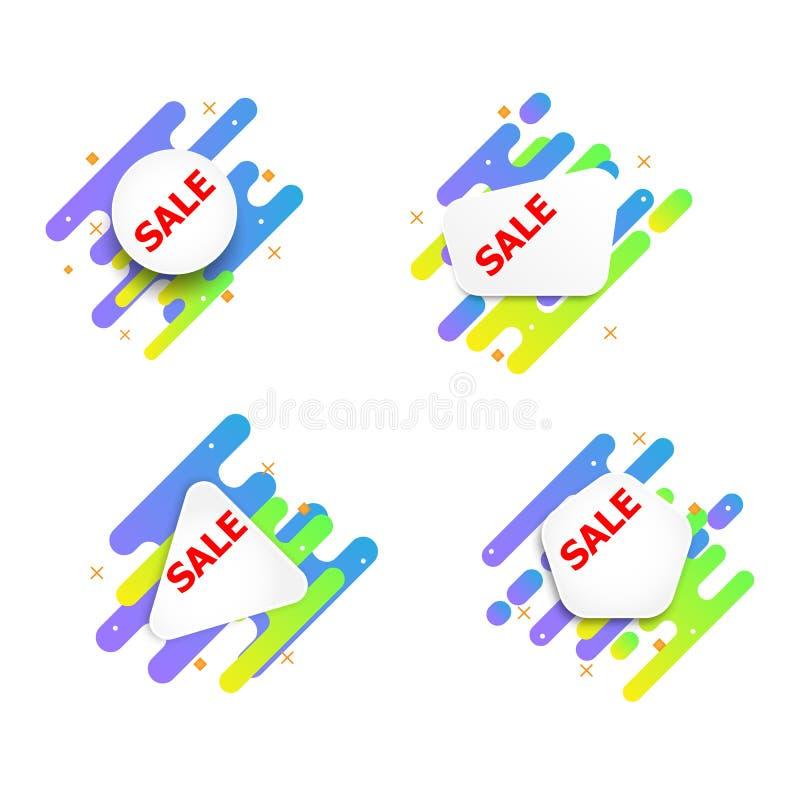 Дизайн абстрактного вектора ярлыка продажной цены плоский иллюстрация вектора