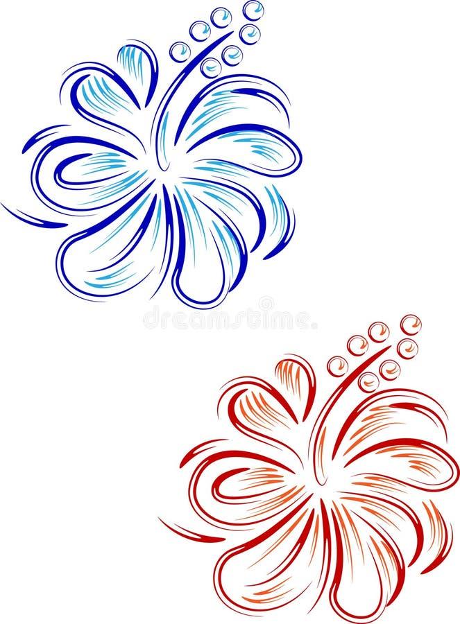 Дизайн абстрактного гибискуса флористический иллюстрация вектора