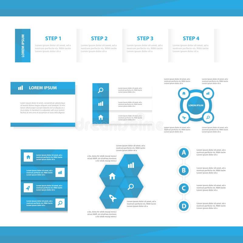 Дизайн абстрактного голубого infographic шаблона представления элементов плоский установил для маркетинга листовки рогульки брошю иллюстрация вектора