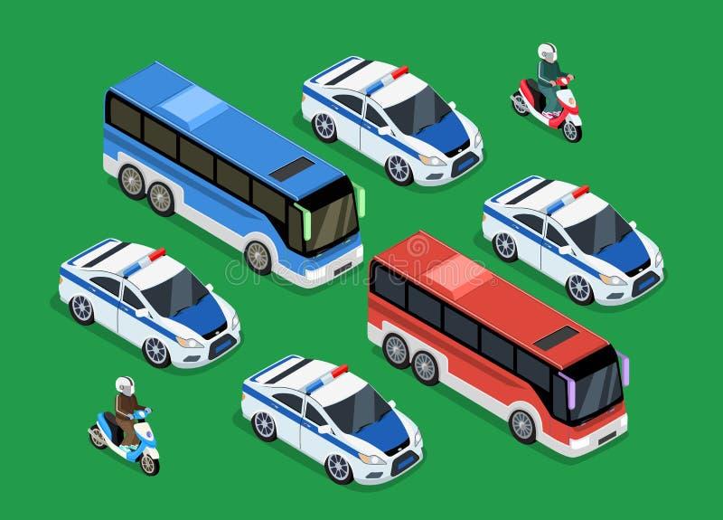 Дизайн автомобиля автоколонны полиции плоский бесплатная иллюстрация