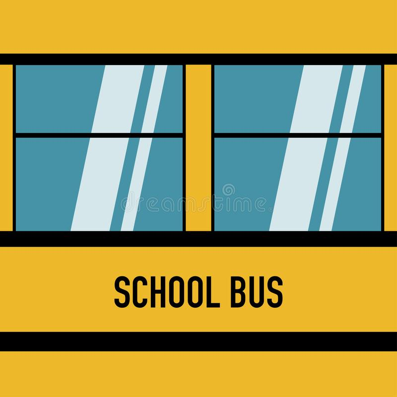 Дизайн американских голубых окон школьного автобуса плоский иллюстрация вектора