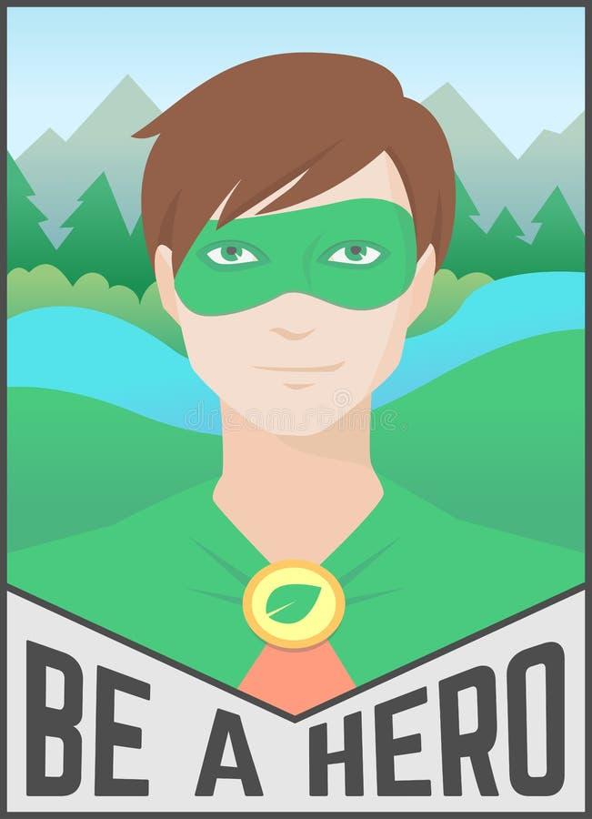 Дизайн ландшафта природы иллюстрации вектора супергероя плаката Eco плоский иллюстрация вектора