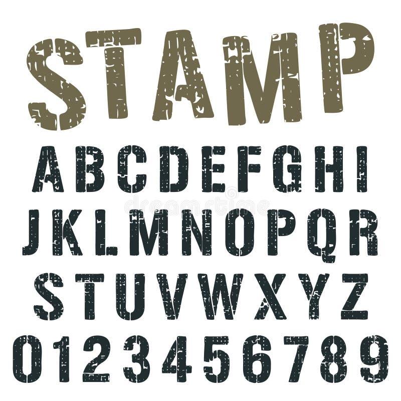 Дизайн армии штемпеля шрифта алфавита иллюстрация штока