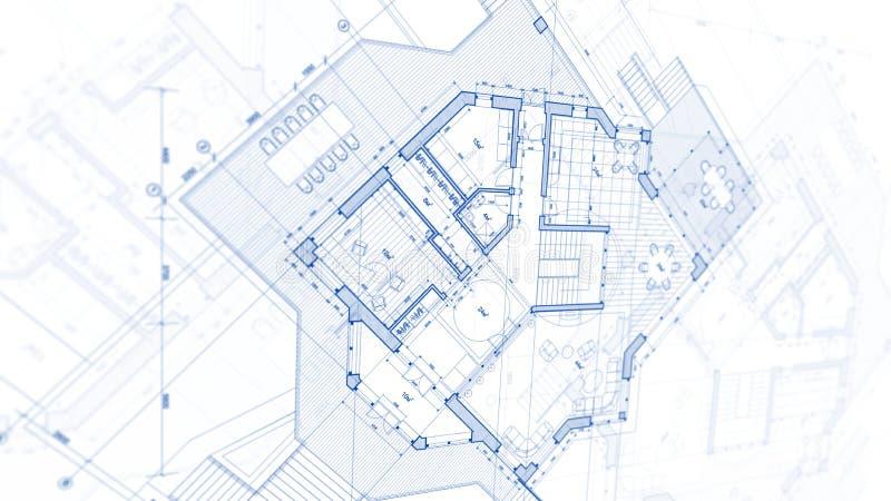 Дизайн архитектуры: план светокопии - иллюстрация плана стоковая фотография