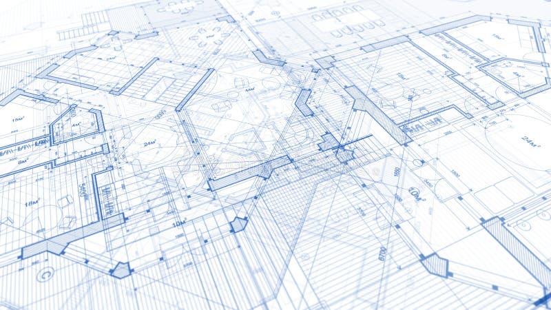 Дизайн архитектуры: план светокопии - иллюстрация плана стоковые фото