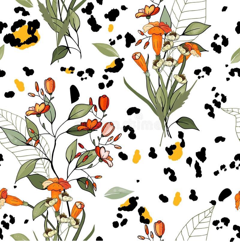 Дизайн Африки сафари леопарда и тигра, змейки и зебры вектор Современные печати шкуры Картина руки цветка вычерченная безшовная иллюстрация штока