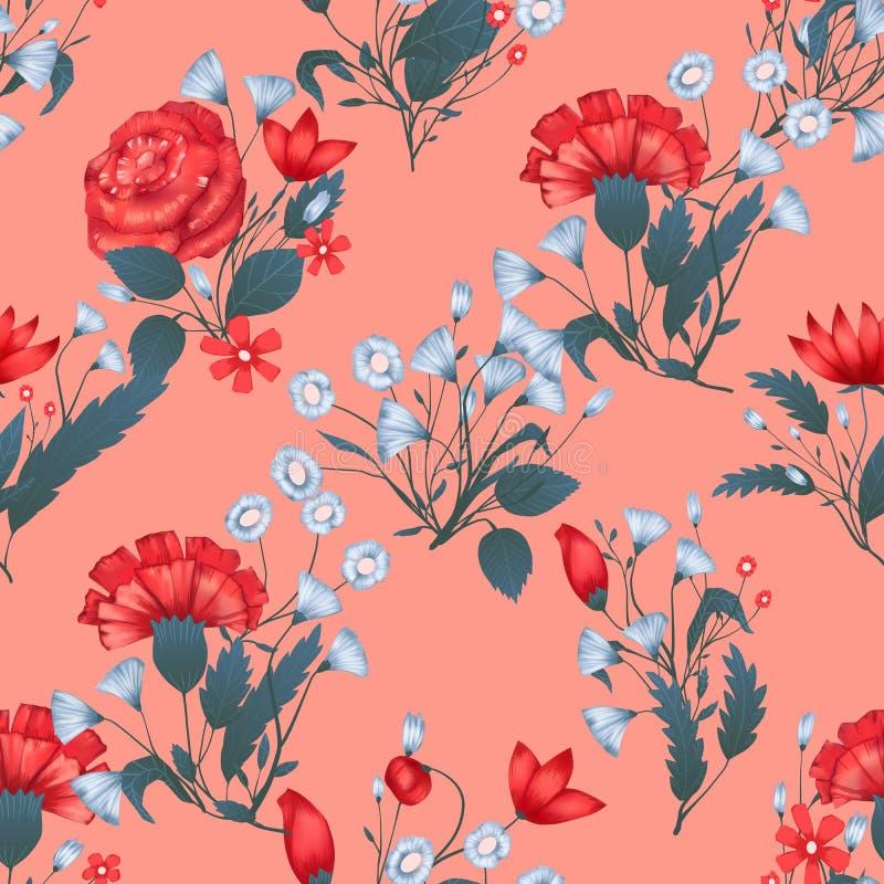 Дизайн безшовного вектора картины флористический с розами Романтичная печать предпосылки иллюстрация штока