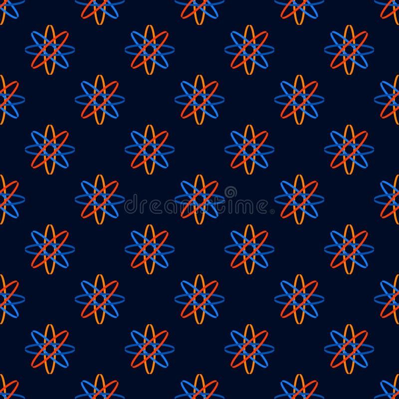 Дизайн безшовной геометрической предпосылки вектора картины красочный абстрактный с атомом как апельсин знаков науки голубой желт иллюстрация вектора