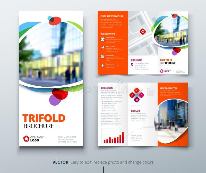 Дизайн брошюры дела trifold Оранжевый шаблон потехи для trifold рогульки План с современными квадратными фото и конспектом иллюстрация вектора